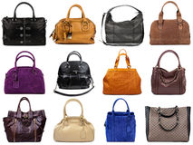 Set of multicolored female bags-2 Royalty Free Stock Photography