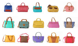 Set of multicolored female bags on a white background.15 pieces. Royalty Free Stock Photo