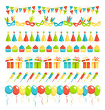 Set of multicolored flat buntings garlands flags isolated on whi Stock Photos