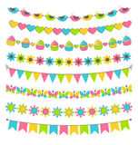 Set of multicolored flat buntings garlands flags isolated on whi Stock Image