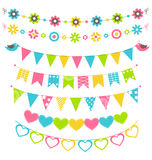 Set of multicolored flat buntings garlands flags with ornament i Royalty Free Stock Photography