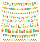 Set of multicolored flat buntings garlands flags  on whi Royalty Free Stock Photos
