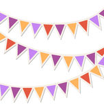 Set of multicolored flat buntings garlands isolated on white Stock Photography
