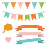 Set of multicolored flat buntings garlands, ribbons and speech bubble Royalty Free Stock Photos