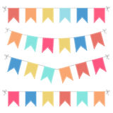 Set of multicolored flat buntings garlands Stock Photos