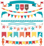 Set of multicolored flat sea buntings garlands flags  on. White background Royalty Free Stock Photos