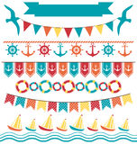 Set of multicolored flat sea buntings garlands flags  on. White background Stock Image