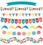 Set of multicolored flat sea buntings garlands flags  on Royalty Free Stock Photos