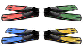 Set of multicolored flippers for diving Royalty Free Stock Images