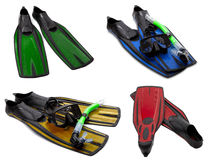 Set of multicolored flippers, masks, snorkel Stock Images