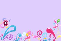 Set of multicolored floral patterns on a purple background, illustration royalty free stock photo