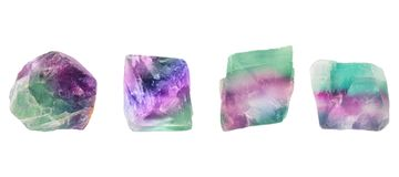 A set of multicolored fluorite, fluorspar mineral crystals. Photo of this samples can be used for geology science. Isolated on whi. Te Royalty Free Stock Photos
