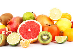 Set of multicolored fresh raw fruits. Isolated on white Royalty Free Stock Photography