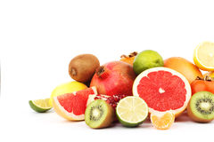 Set of multicolored fresh raw fruits. Isolated on white Royalty Free Stock Images