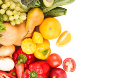 Set of multicolored fresh raw vegetables and fruits. Isolated Royalty Free Stock Photography