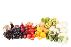 Set of multicolored fresh raw vegetables and fruits. Isolated Royalty Free Stock Photo