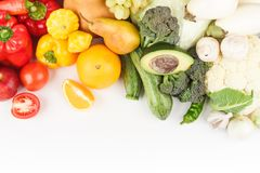 Set of multicolored fresh raw vegetables and fruits, isolated. On white Stock Photo