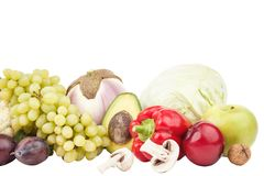 Set of multicolored fresh raw vegetables and fruits, isolated. On white Stock Photography