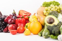 Set of multicolored fresh raw vegetables and fruits, isolated. On white Royalty Free Stock Photo