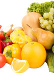Set of multicolored fresh raw vegetables and fruits, isolated. On white Royalty Free Stock Image
