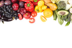 Set of multicolored fresh raw vegetables and fruits, isolated. On white Royalty Free Stock Photography