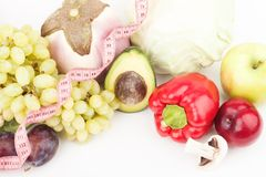 Set of multicolored fresh raw vegetables and fruits. Isolated on white Royalty Free Stock Image