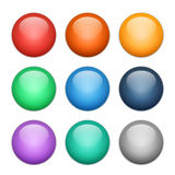 Set of multicolored glass spheres with shadows royalty free illustration