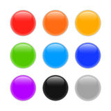 Set of multicolored glass spheres with shadows Royalty Free Stock Image