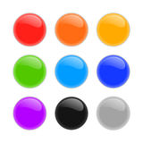 Set of multicolored glass spheres with shadows Stock Photos