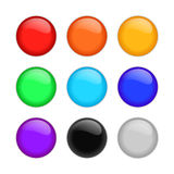 Set of multicolored glass spheres with shadows Royalty Free Stock Photos