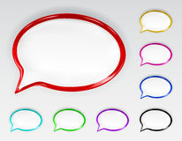 Set of multicolored glossy speech bubbles. With glare and shadows Stock Illustration