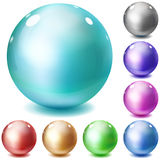 Set of multicolored glossy spheres Royalty Free Stock Photo