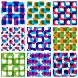Set of multicolored grate seamless patterns. With labyrinth and geometric figures, transparent symmetric bright wavy tiles. Infinite geometric surface textures Stock Photo