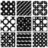 Set of multicolored grate seamless patterns with parallel ribbon Stock Photo
