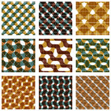 Set of multicolored grate seamless patterns with parallel ribbon. S and geometric figures, transparent symmetric bright wavy tiles, infinite geometric surface Stock Photography