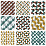 Set of multicolored grate seamless patterns with parallel ribbon. S and geometric figures, transparent symmetric bright wavy tiles, infinite geometric surface Royalty Free Stock Images