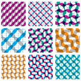 Set of multicolored grate seamless patterns with parallel ribbon. S and geometric figures, transparent symmetric bright wavy tiles, infinite geometric surface Royalty Free Stock Photo