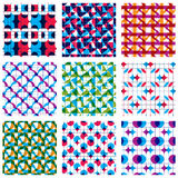 Set of multicolored grate seamless patterns with parallel ribbon. S and geometric figures, transparent symmetric bright wavy tiles, infinite geometric surface Stock Image