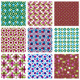 Set of multicolored grate seamless patterns. With parallel ribbons and geometric figures. Symmetric bright wavy tiles, infinite geometric surface textures with Stock Photography