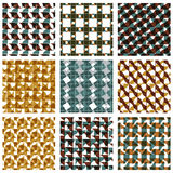 Set of multicolored grate seamless patterns. With parallel ribbons and geometric figures, transparent symmetric bright wavy tiles, infinite geometric surface Royalty Free Stock Photography