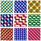 Set of multicolored grate seamless patterns. With parallel ribbons and geometric figures, transparent symmetric bright wavy tiles, infinite geometric surface Stock Photography