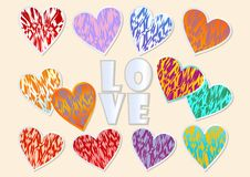 A set of multicolored grunge hearts for Valentine day design Stock Images
