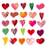 Set of multicolored hearts Royalty Free Stock Images