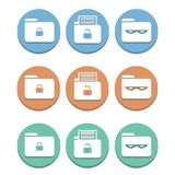 Set of multicolored icons, protection of privacy of folders on the computer. Multicolored Icons with white folders and cybersecurity icons Stock Photography