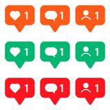 set of multicolored icons for social networks. Like, message and user. vector illustration stock illustration