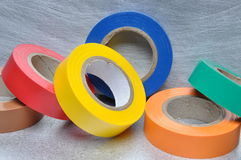 Set of multicolored insulating tapes Royalty Free Stock Photos