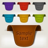 Set of multicolored leather tag labels Royalty Free Stock Photo