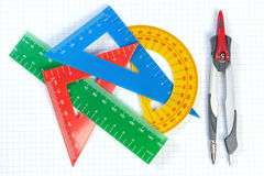 Set of multicolored lines of triangles, protractors and Caliper. Royalty Free Stock Image