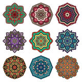 Set of multicolored mandalas. Royalty Free Stock Photo