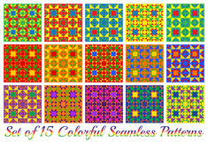 Set of 15 multicolored modern geometric seamless patterns with triangle and square shapes. Set of 15 abstract multicolored modern geometric seamless patterns Royalty Free Stock Images